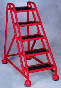 Steel Rolling Ladder w/Ribbed Vinyl Tread