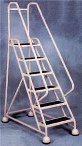 Aluminum Rolling Ladder w/Ribbed Vinyl Tread
