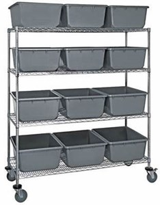 "Mobile Shelving Unit w/Stack Tubs,18""x36""x69"""