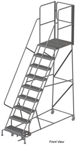 Aluminum Wheelbarrow-Style Ladder, Ribbed Tread