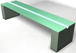 Bench with Creased Seat and Precast Supports